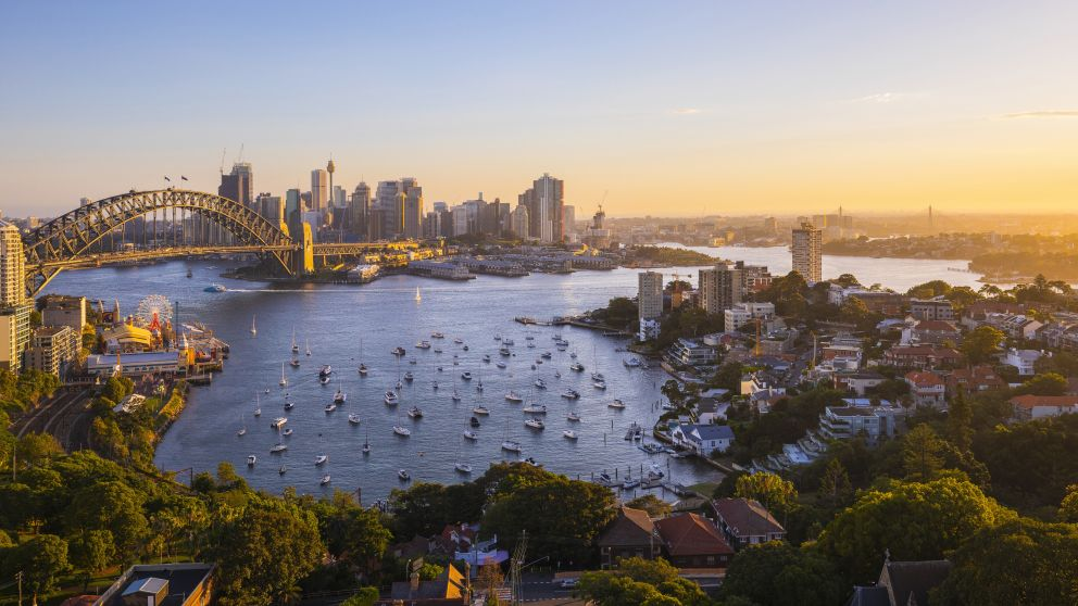 Sun setting over Sydney Harbour, Lavender Bay