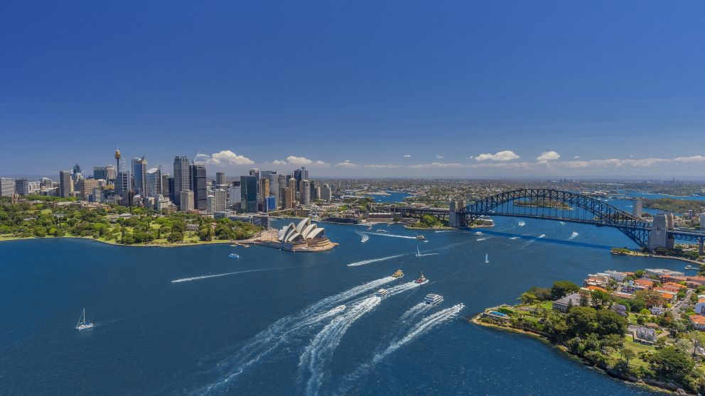 Hero aerial overlooking Sydney Harbour, Sydney City