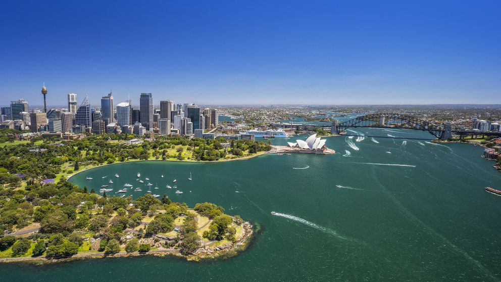 Aerial view of Royal Botanic Gardens and Sydney Harbour