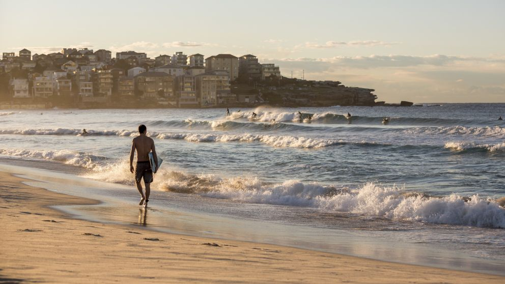 Surfer heading for a morning surf at Bondi Beach, Sydney East