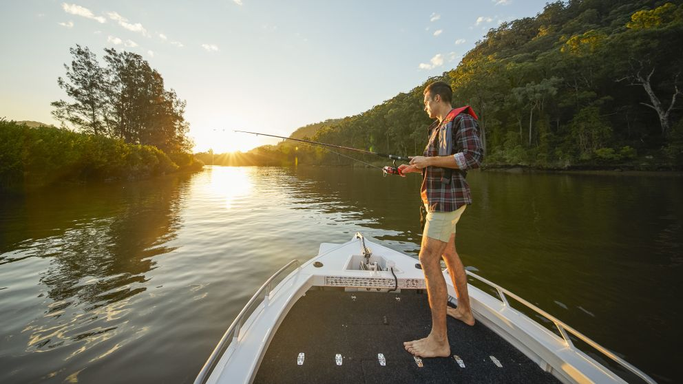 Man enjoying an afternoon of fishing on the Hawkesbury River, Wisemans Ferry