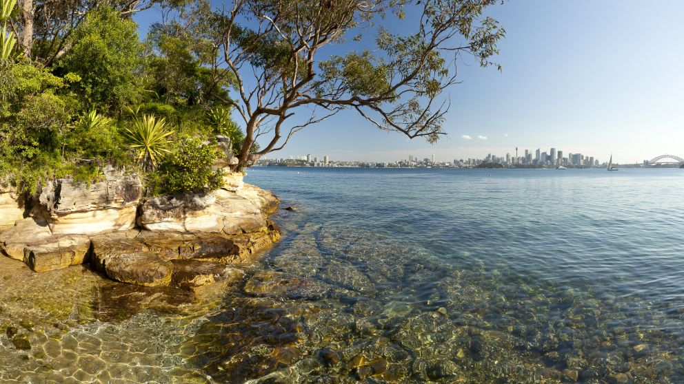 View towards the Sydney CBD from Athol Bay beach at Mosman