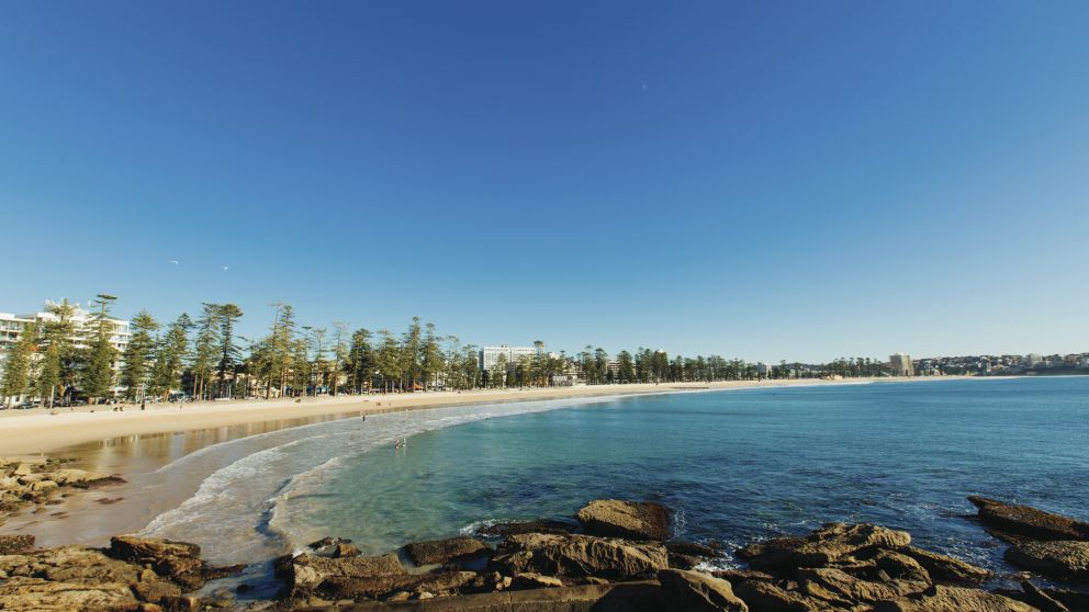 Morning sun rising over Manly Beach on Sydney's north