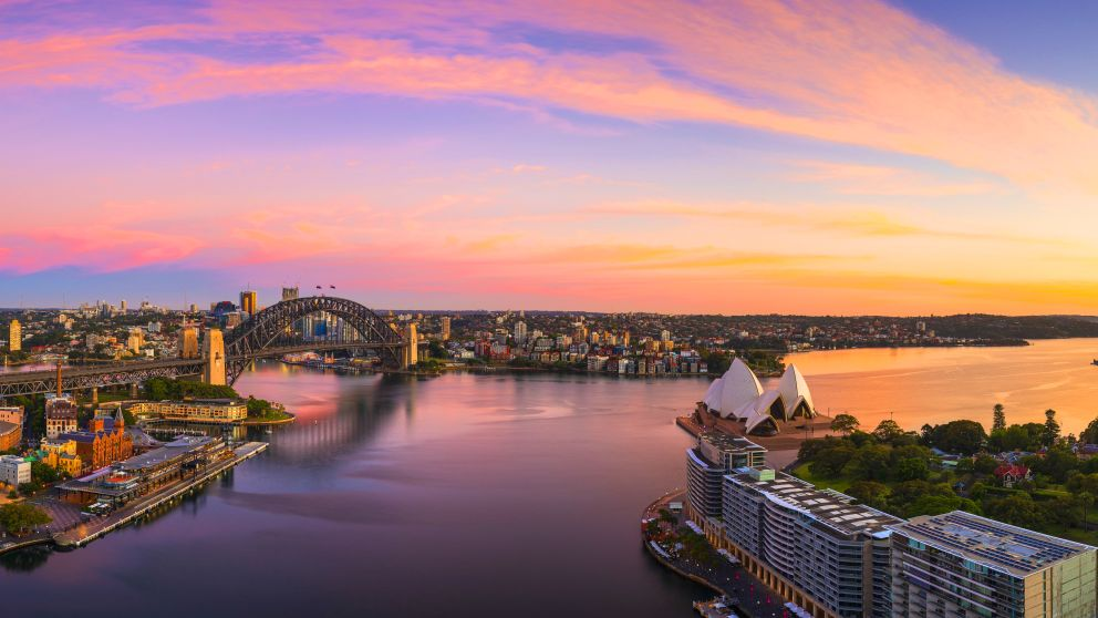 aerial over the sunrise in Circular Quay