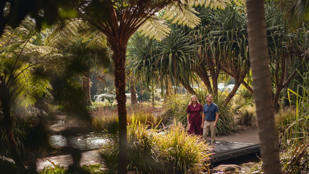 Couple walking in The Australian Botanic Garden in Mount Annan, NSW