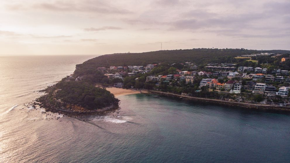 Aerial overlooking Shelly Beach and the Cabbage Tree Bay Aquatic Reserve, Manly