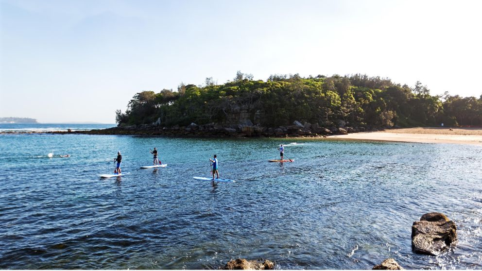 Stand up paddleboarding at Shelly Beach in Manly, Sydney North