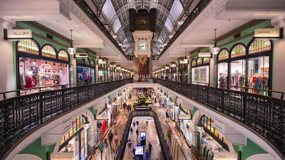 Four levels of shopping in the Queen Victoria Building, Sydney CBD