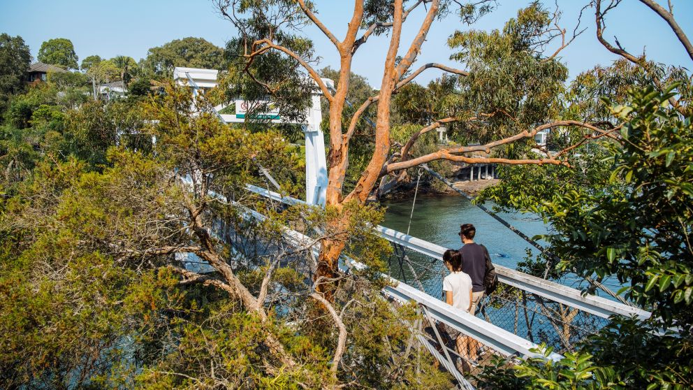 Couple enjoying a scenic walk around Parsley Bay, Vaucluse