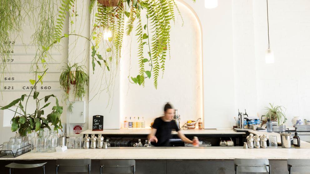 The bar at Poor Toms Gin Hall in Marrickville, Inner Sydney