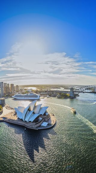 Aerial over Sydney Harbour