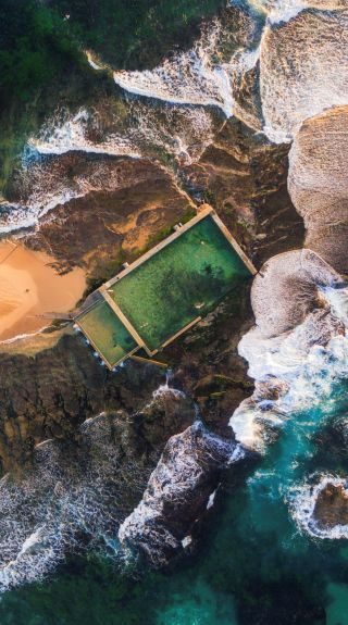 Mona Vale Rockpool aerial shot, Northern Beaches