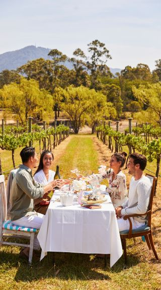 Friends enjoying a High Tea experience at Cambewarra Estate Winery, Bangalee