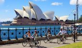 A Bonza Bike tour cycling near the Sydney Opera House
