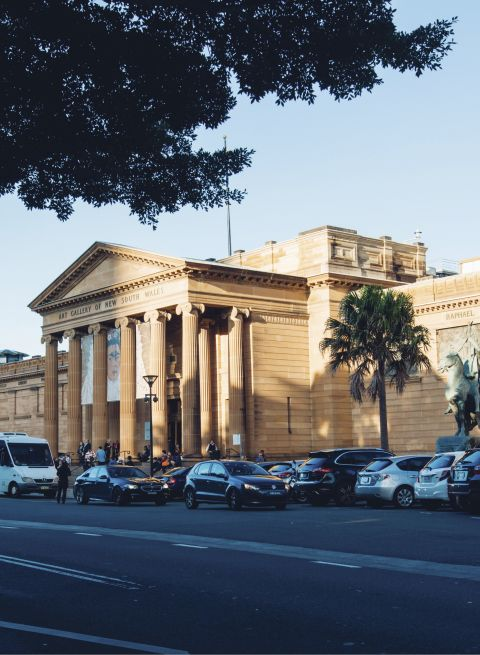 Street view of the Art Gallery of New South Wales in The Domain, Sydney