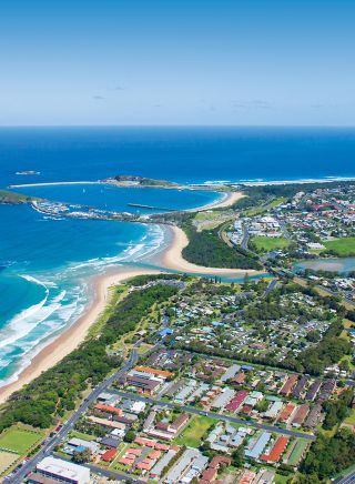 Aerial over Coffs Harbour - NSW North Coast