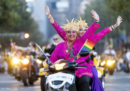 Celebrating the colourful collision of creativity and culture across our communities, the world renowned Sydney Gay and Lesbian Mardi Gras Parade, Sydney