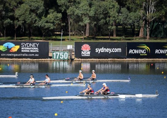 Racing over the finish line, Aon Sydney International Rowing Regatta, Penrith