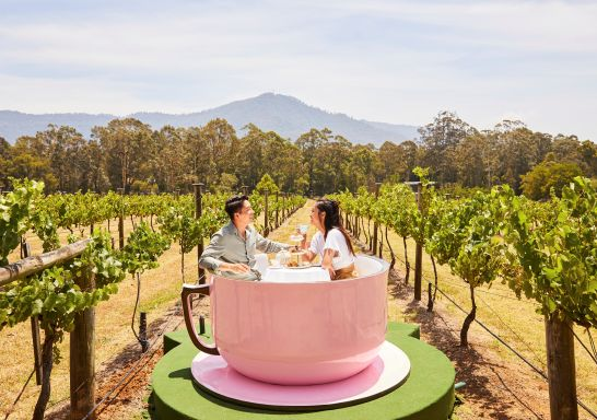 Couple enjoying a VIP High Tea Cup experience at Cambewarra Estate Winery, Bangalee